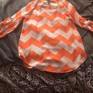 Orange & White Chevron Striped Blouse
